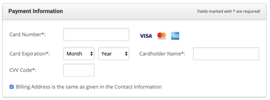 Payment Information (ข้อมูลการชำระเงิน)